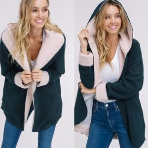 Plush Hoodie Emerald & Tan Faux Sherpa Jacket